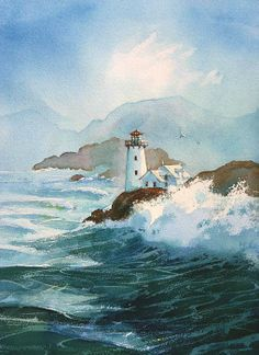 Lindgren  Smith :: Artists Representatives :: Robert Steele Beacon Of Light, Lighting, Painting, Lighthouse, Art, Watercolors, Light Fixtures, Water, Light House