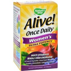 Nature's Way Alive! Once Daily Women's Multi-Vitamin Ultra Potency Description: Multi-Vitamin and Whole Food Energizer 26 Fruits and Vegetables Green Foods Mush