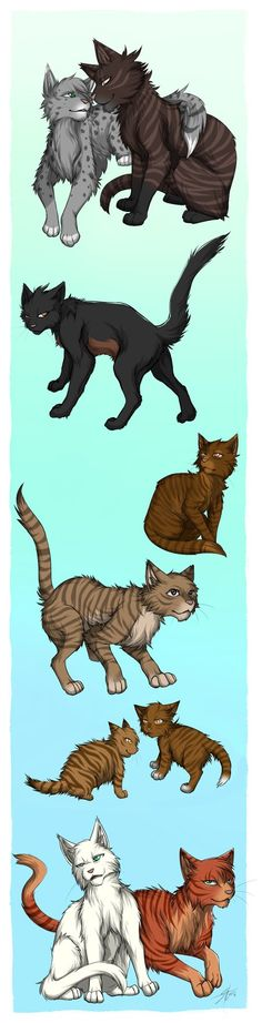 Ferncloud and Dustpelt Spiderleg Shrewpaw Birchfall Hollykit and Larchkit Icecloud and Foxleap Warriors (c) Erin Hunter art (c) by me
