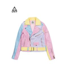 50%OFF 【UNIF】パステル切替えライダースジャケット/PASTEL ❤ liked on Polyvore featuring outerwear, jackets, tops, coats, faux jacket, pink jacket, pink ladies jacket and leather jacket