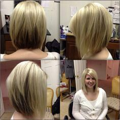 50 Ideas For Haircut Styles For Long Hair Shoulder Length Angled Bobs - Schulterlange Haare Ideen Inverted Bob Hairstyles, Long Bob Haircuts, Medium Stacked Haircuts, Layered Hairstyle, Layered Haircuts, Medium Hair Styles, Short Hair Styles, Medium Bob With Bangs, Medium Length Hair With Layers And Side Bangs