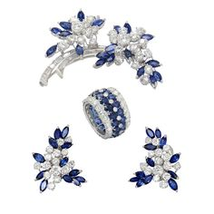 Italian Sapphire Diamond Set | From a unique collection of vintage more jewelry at https://www.1stdibs.com/jewelry/more-jewelry-watches/more-jewelry/