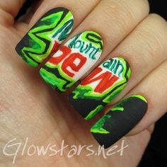 Inspiration on The Digit-al Dozen does thankfulness: Mountain Dew by Vic 'Glowstars' Pires. Check out more Nails on Bellashoot. Glam Nails, Fun Nails, Pretty Nails, Manicure E Pedicure, Mani Pedi, Nailart, Wide Nails, Glow Stars