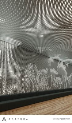 Arktura's Vapor® Graphic Perf® allows you to translate any image, text or patt. Arktura's Vapor® Graphic Perf® allows you to translate any image, text or pattern into perforat Perforated Metal Panel, Metal Panels, Interior Ceiling Design, Office Ceiling Design, Villefranche Sur Saône, Metal Facade, Corporate Interiors, Environmental Graphics, Light Installation