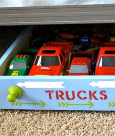 DIY Rolling Toy Storage for Under Bed! Kid Toy Storage, Closet Storage, Toy Rooms, Kids Rooms, Organizing Your Home, Organising, Under Bed, Toy Trucks, Home Hacks
