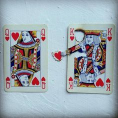 "Cute! DIY Inspiration: ""Queen of hearts/Suicide King"" 2013 by Elmo Hood here. via truebluemeandyou @ tumblr:"
