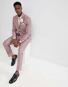 8a87ba9813 Selected Homme | Selected Homme Slim Suit Jacket In Rose Pink Wedding  Theme, Wedding Suits