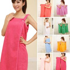 Womens Ladies Bath Robe With Hood Dressing Gown Wrap Drying Towel Wash Skirt Towels