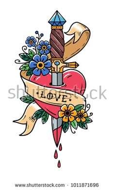 dagger piercing heart with dripping blood. Heart bleeding. Betrayal. Heart with ribbon and lettering Love. Retro tattoo. Old school retro vector illustration.