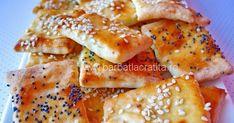 Biscuiti crocanti de casa (sarati), cu cascaval, ulei (ideal de de masline) si seminte de susan sau mac.