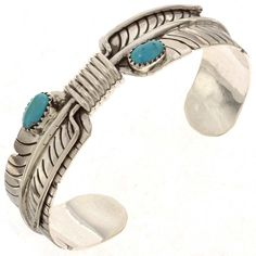 Navajo Turquoise Bracelet Silver Feather Ladies Cuff