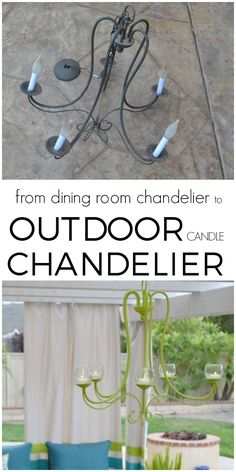 DIY Outdoor Chandelier Such a cool way to upcycle those builder grade chandeliers! She created an outdoor candle chandelier for her amazing outdoor living space! via Hey There, Home Outdoor Candles, Outdoor Chandelier, Candle Chandelier, Chandelier Design, Chandelier Ideas, Chandelier Makeover, Chandeliers, Diy Kit, Diy Garden