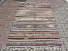 "Turkish Handwoven Kilim Rug Natural Wool 46"" x 72"" | eBay"