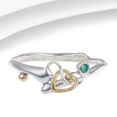 Organic Silver & Emerald Dainty Ring
