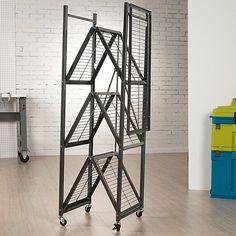 Genial Origami Shelf Frame With Wheel, Black
