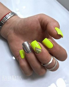 Amazing Summer Neon Nails Art Design You Must Try - Nail Art Connect : Amazing Summer Neon Nails Art Design You Must Try - Nail Art Connect Neon Yellow Nails, Neon Nail Art, Neon Nails, Neon Nail Designs, Acrylic Nail Designs, Cute Nails, Pretty Nails, Hair And Nails, My Nails