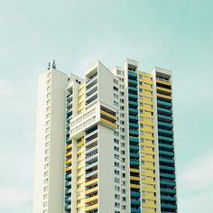 Concrete building with color