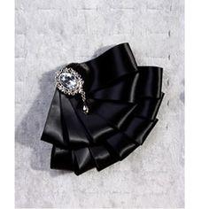 Men Black Bejeweled Silk Wedding Prom Dress Suit Tuxedo Bow Tie Brooch SKU-71114095