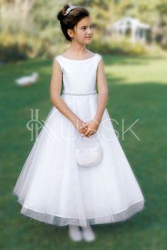 Formelles Reißverschluss Prinzessin knöchellanges natürliche Taile Blumenmädchenkleid