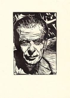 'Aldous Huxley' linocut by Jade They. www.jadethey.com. Tags: Linocut, Cut, Print, Linoleum, Lino, Carving, Block, Woodcut, Helen Elstone,  Portrait, Man, Writer, Face.