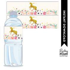 Unicorn  Water Bottle Label / Horse Water Bottle Label / My Little Pony Water Bottle Label / Pink Gold Favor Tags / Unicorn Napkin Ring by LuckyPlumStudio on Etsy https://www.etsy.com/au/listing/274275808/unicorn-water-bottle-label-horse-water