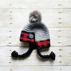 Crochet Lumberjack Plaid Beanie Hat Newborn Infant Baby Toddler Child Adult Handmade Baby Shower Gift
