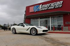 Lexani Forged Wheels LZ-102 in Brushed with Chrome Lip on a 2015 Chevrolet Corvette Convertible. 20x9 front with 255/35-20 tires and 22x11 rear with 295/25-22 tires.  http://www.americanwheelandtire.com/houston-wheels/Lexani-Forged/