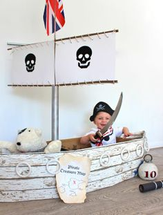 Cardboard pirate ship tutorial.