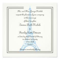 Paris wedding blue Eiffel Tower ivory invitation