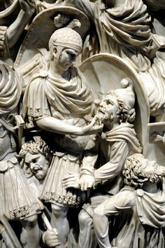 Detail from Great Ludovisi sarcophagus showing a Roman officer examining a barbarian who surrender in the general Roman triumph of the scene. 250-260 AD Rome, Palazzo Altemps.