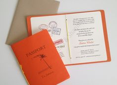 honeymoon themed bridal shower invitations | Passport invitations