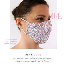 Masquebarrière MY MASK NOIR FLEURS L'ÉMOTION, élégant, tendance et qui s'adapte à toutes vos envies. C'est un masque anti projection, en tissu lavable et réutilisable ; il passe en machine à 60° ! Modèle Unisex Femmes / Hommes / Enfants  Chaque masque est fourni avec 2 filtres : changer le filtre tous les jours Composition du masque : 100% coton L'élastique pour fixer le masque barrière sur le visage est en élasthanne Masque ajustable Sa duréed'utilisation maximale est de 4 heures. Composition, Crop Tops, Fashion, Pink Fabric, White Flowers, Filter, The Hours, Face, Children