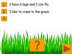 A Minibeast descriptions game for IWB: Interactive game for young pupils or those with SEN. Science Biology, Science Lessons, Primary School, Pre School, Minibeasts Eyfs, Positional Language, Comic Sans Font, Early Years Teaching, Mini Beasts