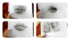 #art #drawing #lips #eye #kiss #black #white
