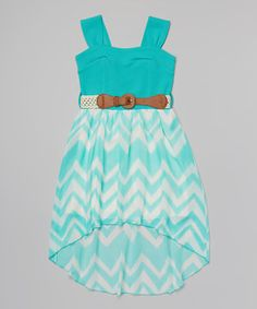 This Mint Zigzag Belted Dress - Girls by Just Kids is perfect! #zulilyfinds
