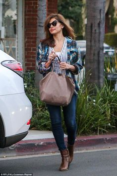 Me time:Eva Mendes made a rare public outing as she popped into the hairdressers in Bever...