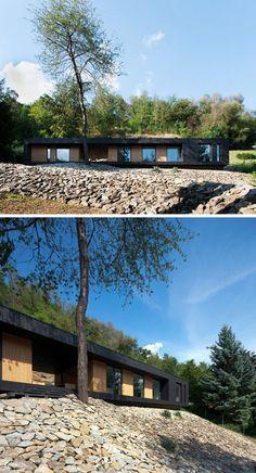 15 Single Story Modern Houses | Blackened wood contrasts the light wood siding to create a modern looking single story house.