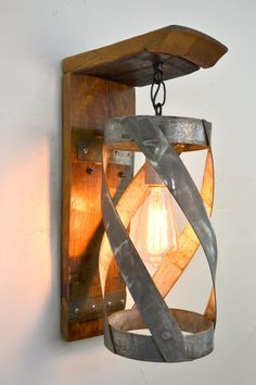 "TUSCAN - ""Vitali"" - Wine Barrel Wall Sconce -100% Recycled"