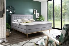 Boxspringbett H3 180 x 200 cm MASSELLO H3 hellgrau » Mega Möbel Tv Wall Design, Oak Color, Comfortable Sofa, Grey Bathrooms, Grey Fabric, Bathroom Renovations, Sofa Furniture, Amazing Bathrooms, Interior Decorating