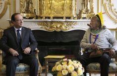 Chief Raoni Txukarramae with France's President Francois Hollande