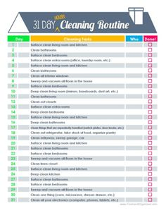 31 day house cleaning routine