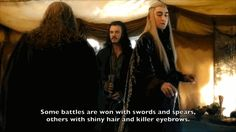 Luke Evans as Bard the Bowman and Lee Pace as Thranduil in The Hobbit movies (gif)
