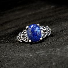 Lapis Lazuli Ring Sterling and Lapis  size 55 by GothicGlitter, $70.00