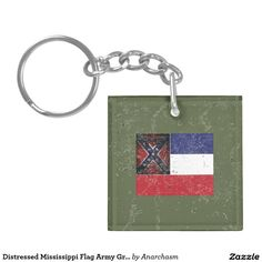 Distressed Mississippi Flag Army Green Double-Sided Square Acrylic Keychain