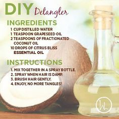 Looking for a natural hair detangler solution? Then check out this DIY essential oil recipe.  For me having long hair and having a young child with long hair, detangler is a must. If it's not the beach and pool in summer, it is the wind, hats and playing in the snow that gets us in winter.  So instead of damaging your hair with nasty chemicals, try this DIY detangler. www.hayleyhobson.com
