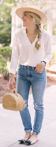 #summer #outfits Light Hat + White Blouse + Destroyed Jeans