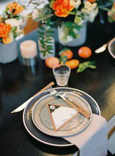Geometric wedding menus | l'Artisan Photographe | see more on: http://burnettsboards.com/2015/09/urban-alpine-wedding-inspiration-shoot/