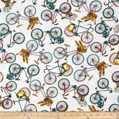 Timeless Treasures European Adventures Tossed Bicycles White from @fabricdotcom  From Timeless Treasures, this cotton print fabric is perfect for quilting, apparel, and home decor accents. Colors include white, pink, shades of blue, green, brown, and orange.