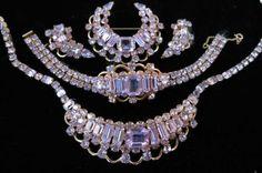 Kramer of New York Alexandrite Grand Parure Necklace Bracelet Brooch Earrings. $700.00, via Etsy.