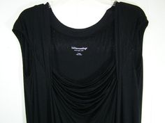 Soft Surroundings XL Women's Black Stretchy VIscose Dress Sleeveless Cowl Tiered #SoftSurroundings #Tiered #LittleBlackDress
